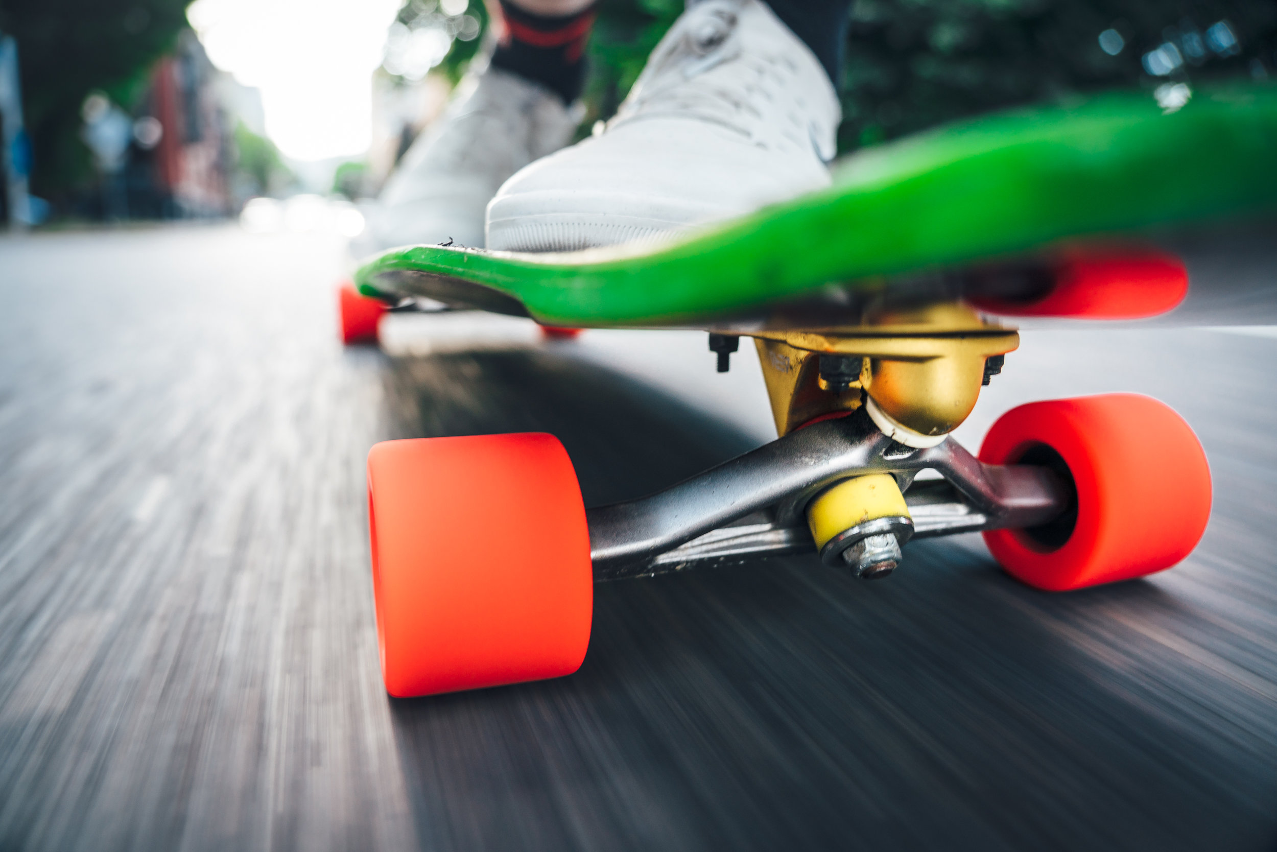Up close and personal with the Aera RF-1 forged longboard truck. These are 180mm and 46°.