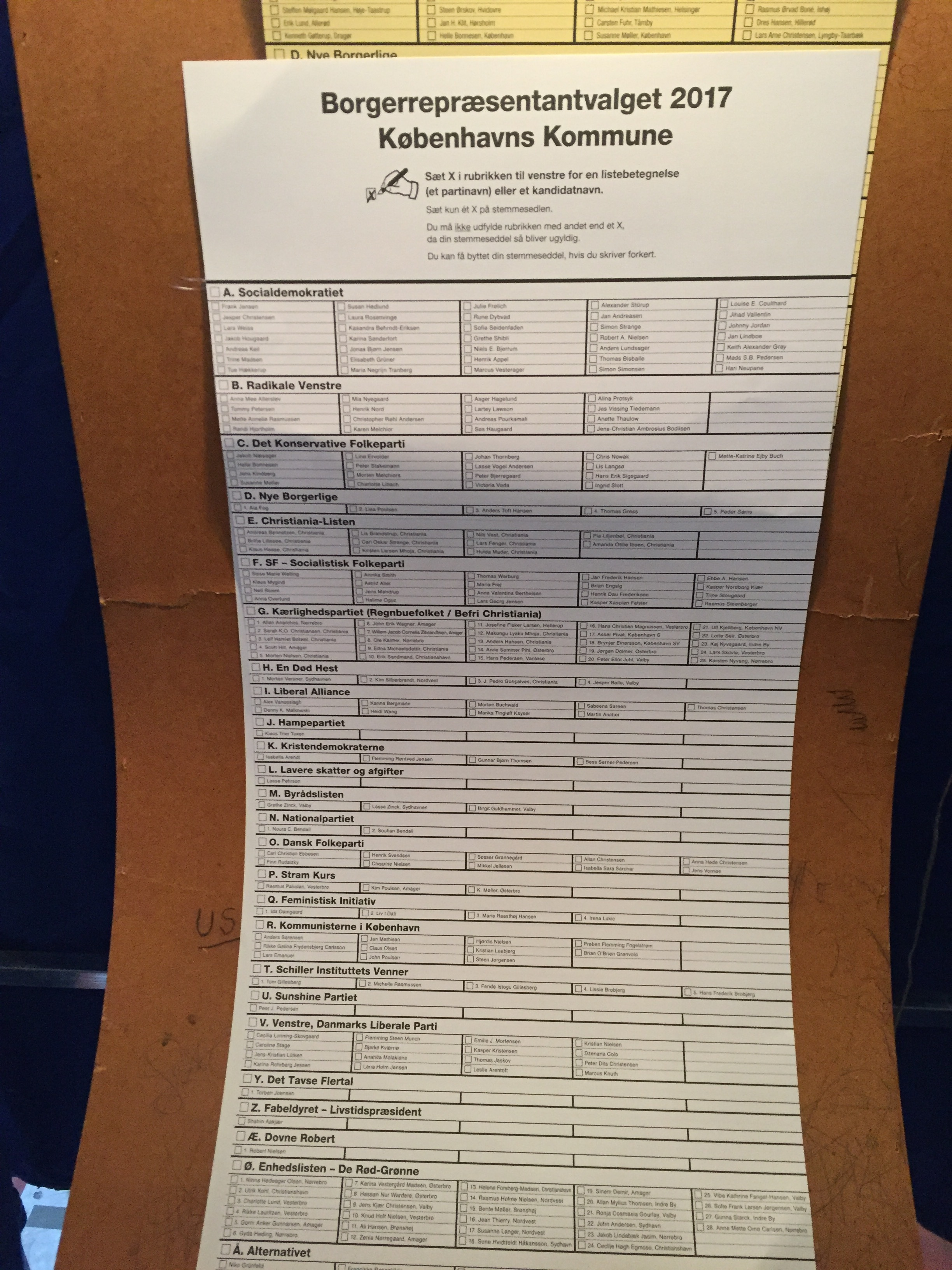 The long list of voting opportunities includes 'The Sunshine Party', 'A Dead Horse' and 'The Silent Majority'