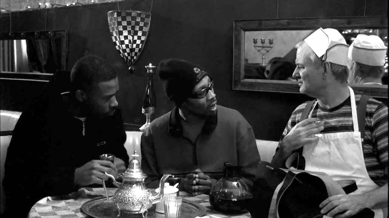 "Bill Murray and GZA & RZA of Wu-Tang Clan talk it out in "" Coffee & Cigarettes ""."