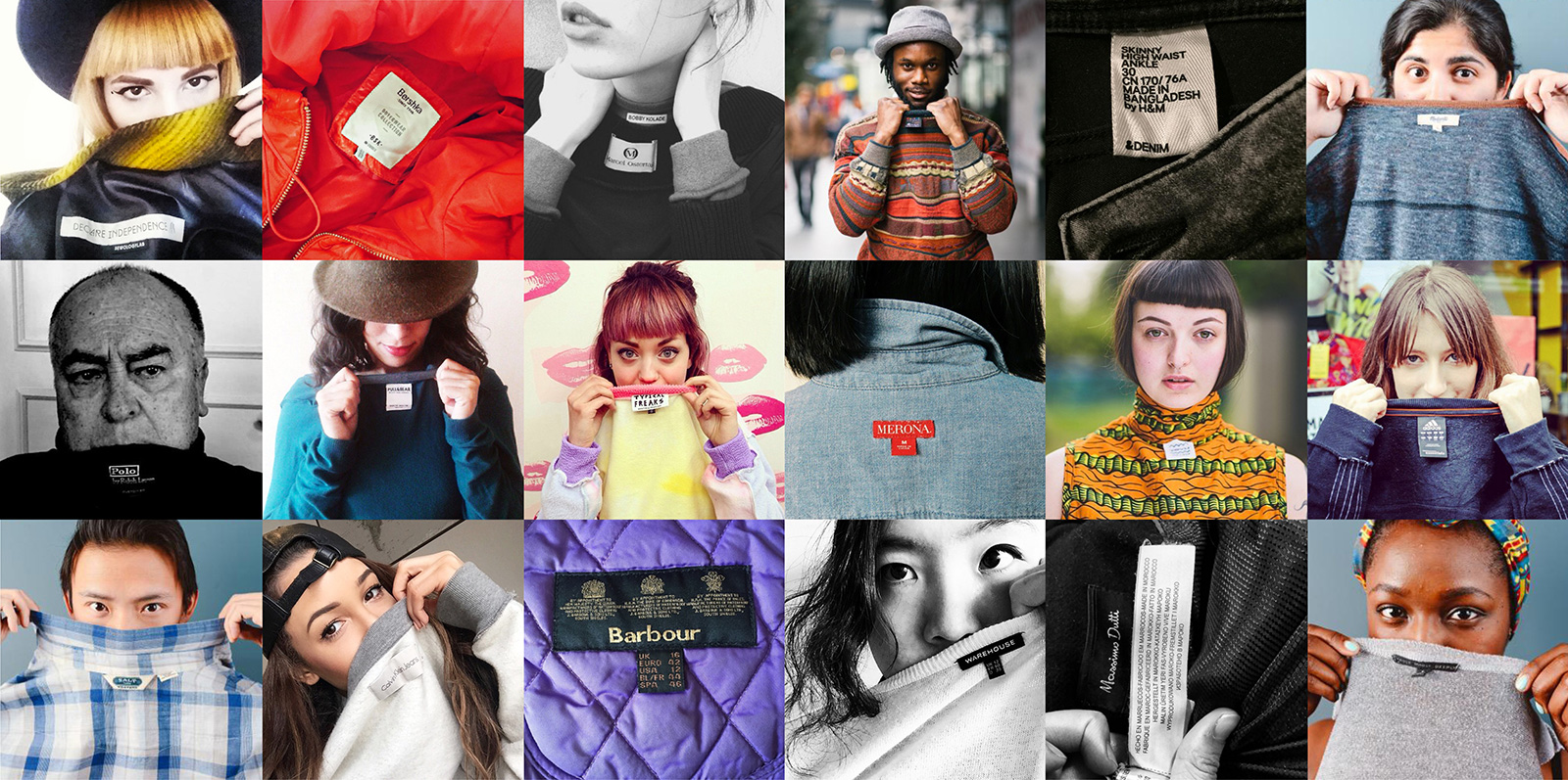 """Consumers turning out their garment labels to ask brands, """"Who made my clothes?"""" for  Fashion Revolution day."""