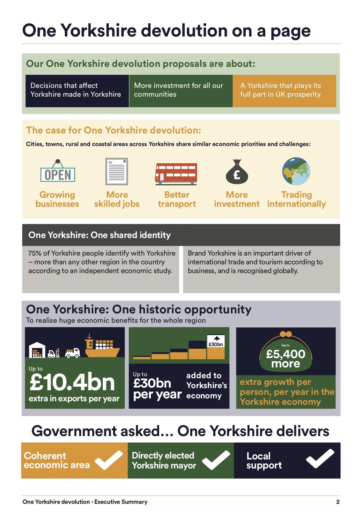 Full One Yorkshire summary  here.