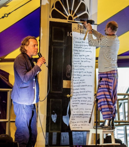 Jamie Kelsey-Fry leads a People's Assembly at the Byline Festival 2018