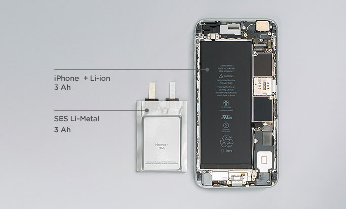 Comparison of Lithium metal battery to an iPhone's standard battery