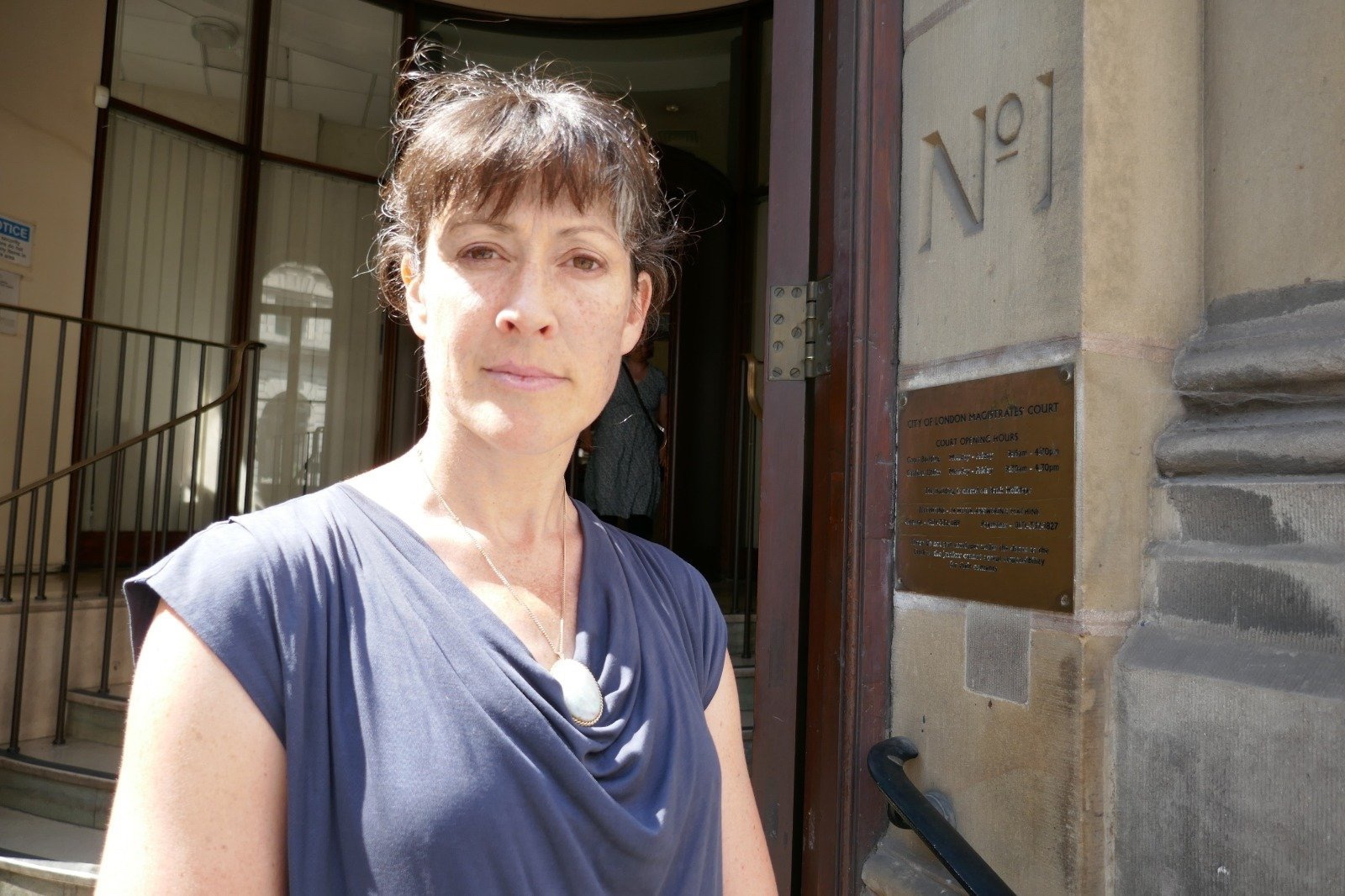 Anthea Lawson, outside City of London Magistrates Court, where she was sentenced for her XR protest at Waterloo