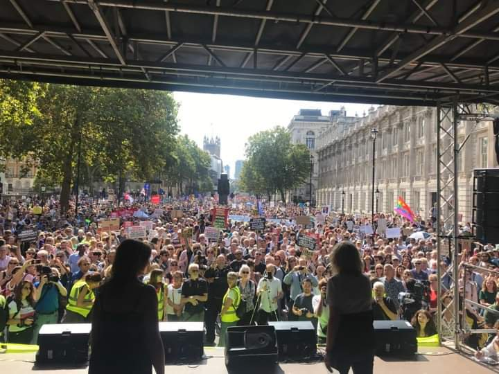 The #StopTheCoup stage, just outside 10 Downing Street, today  @another_europe