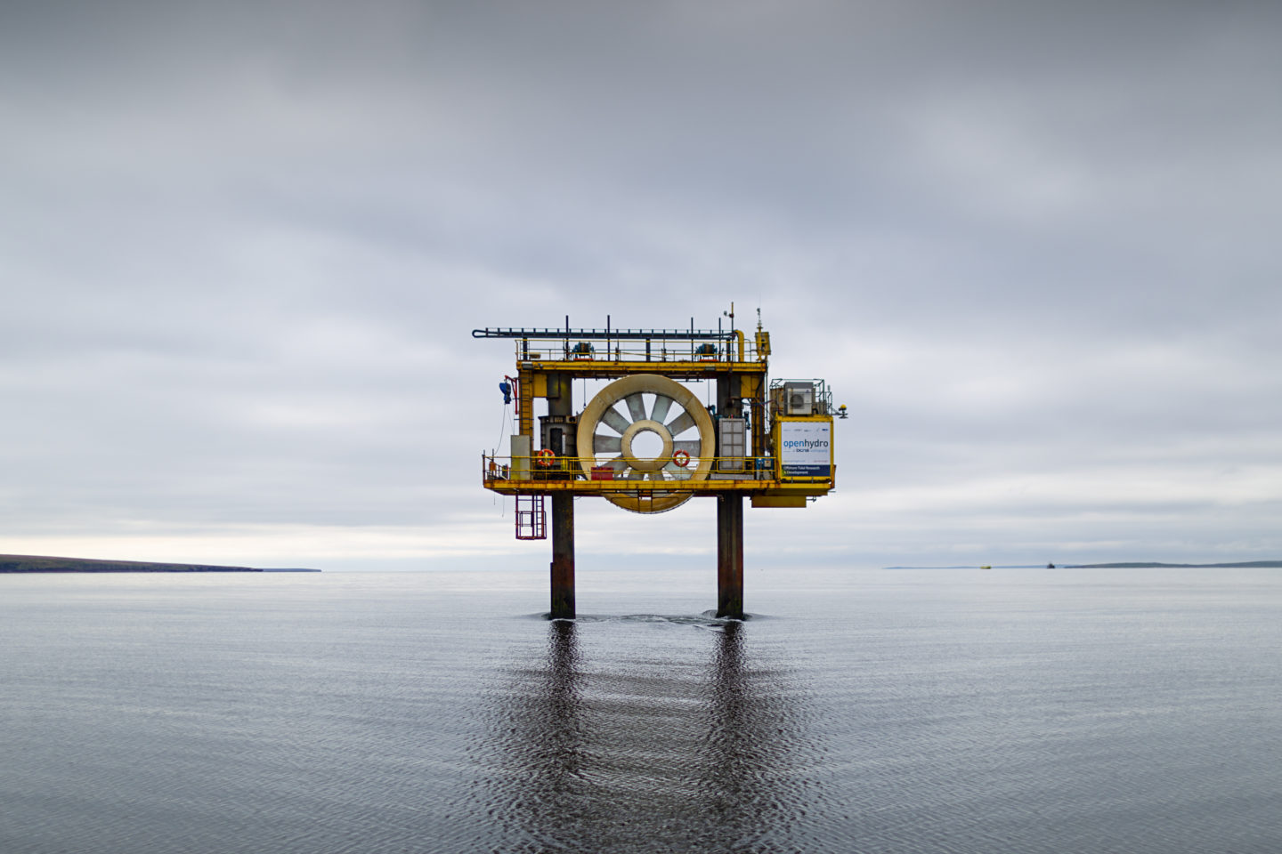 "Fall of Warness tidal test site, Eday   ""The OpenHydro Open Centre Turbine device generates renewable energy from tidal streams and was the first tidal turbine to be grid-connected in Scotland"" ( BBC report )"
