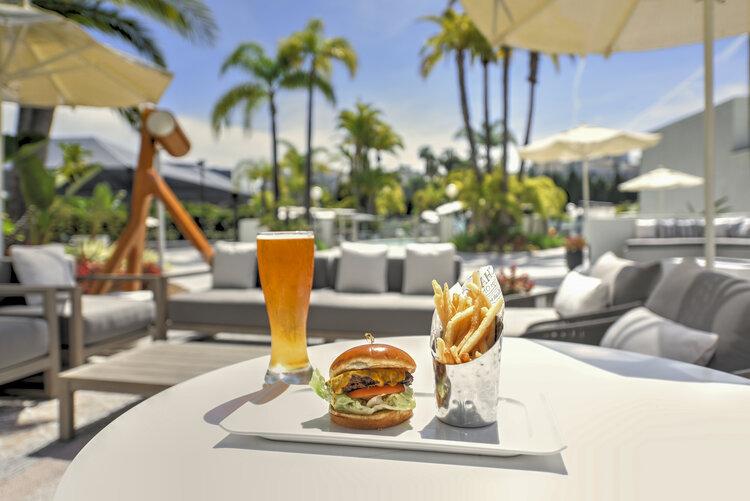 Burger, Fries and Beer at Aura Bar & Grill