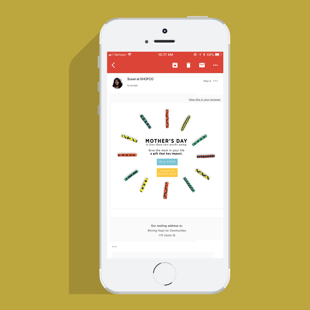 Email Design, Art Direction  Shining Hope for Communities (SHOFCO)