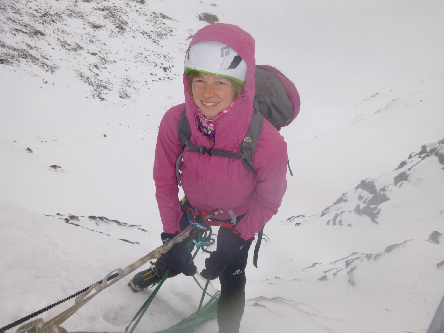 2013 Lucy climbing in the Cairngorms with a pretty heavy 40l pack