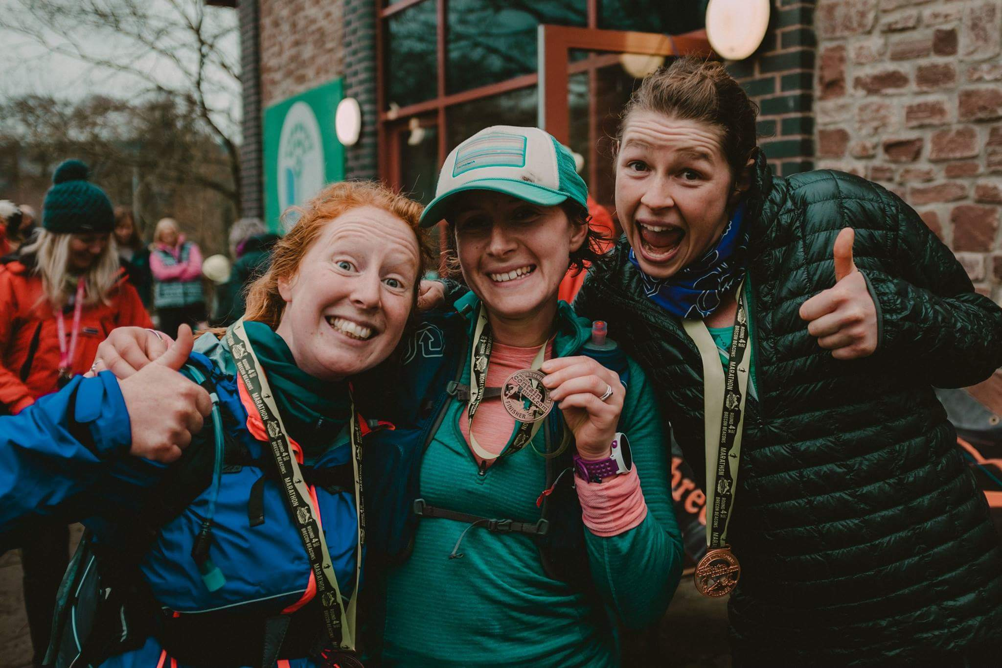 Sarah, Kate and Lucy at the finish line at May Contain Nuts 2016