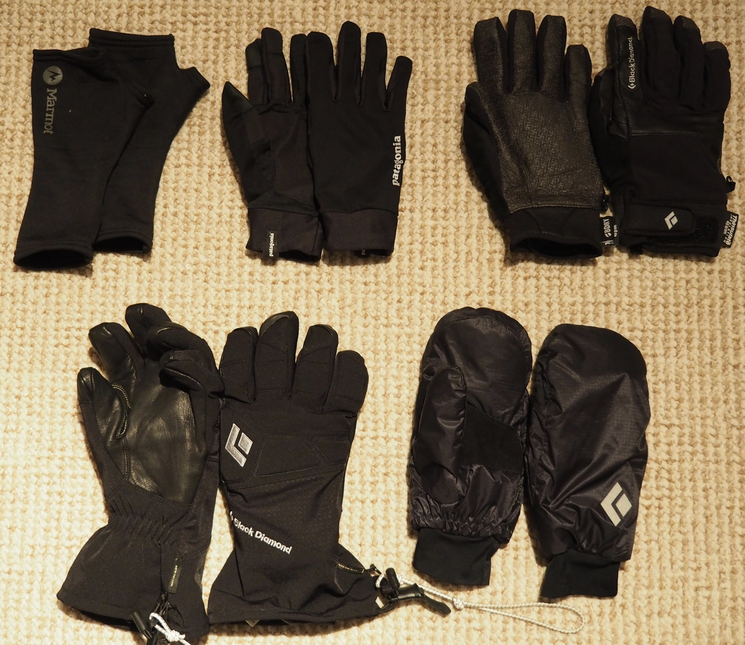 Top: Marmot Wrist Gaiters, Patagonia Fore Runner Gloves, Black Diamond Arc Glove Bottom: Black Diamond Enforcers, Black Diamond Stance Mitts