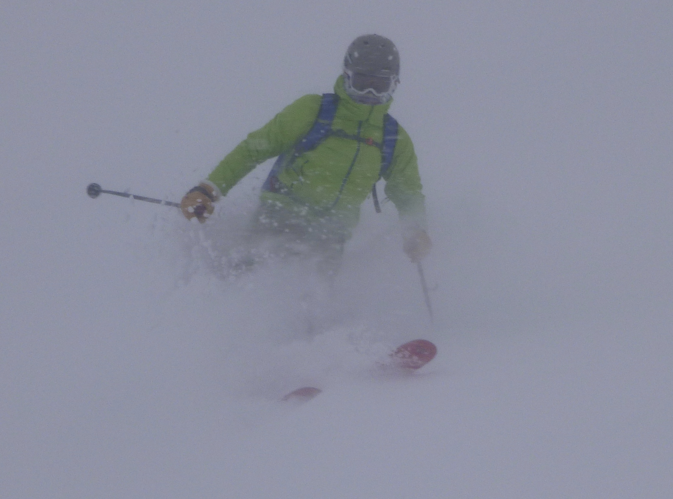 Andy found it a little easier on his big fat powder skis!