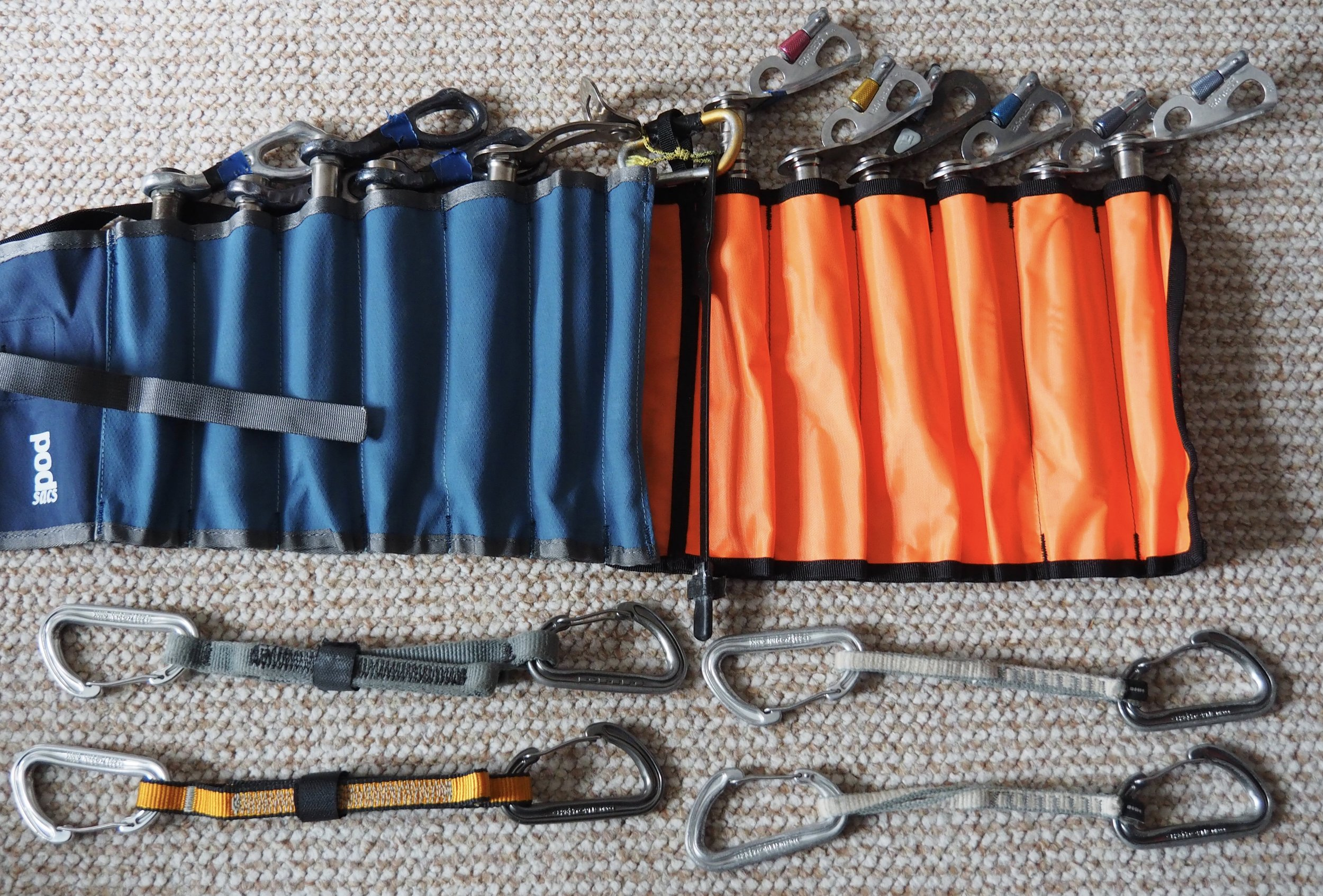 """The gear I would take add to the """"basic rack"""" on a pure ice route."""