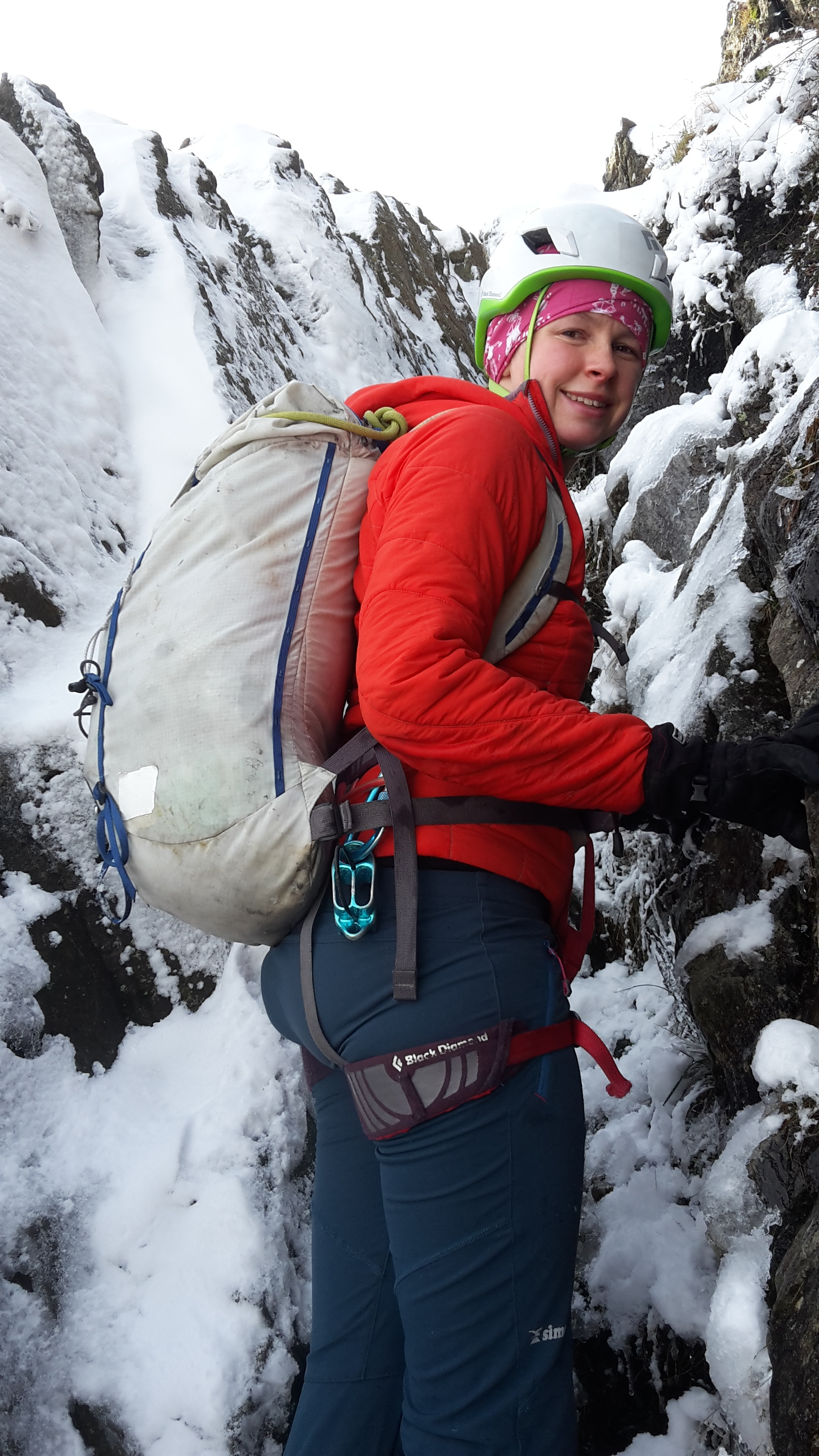 Lucy gets away with a lighter pack on long easy routes