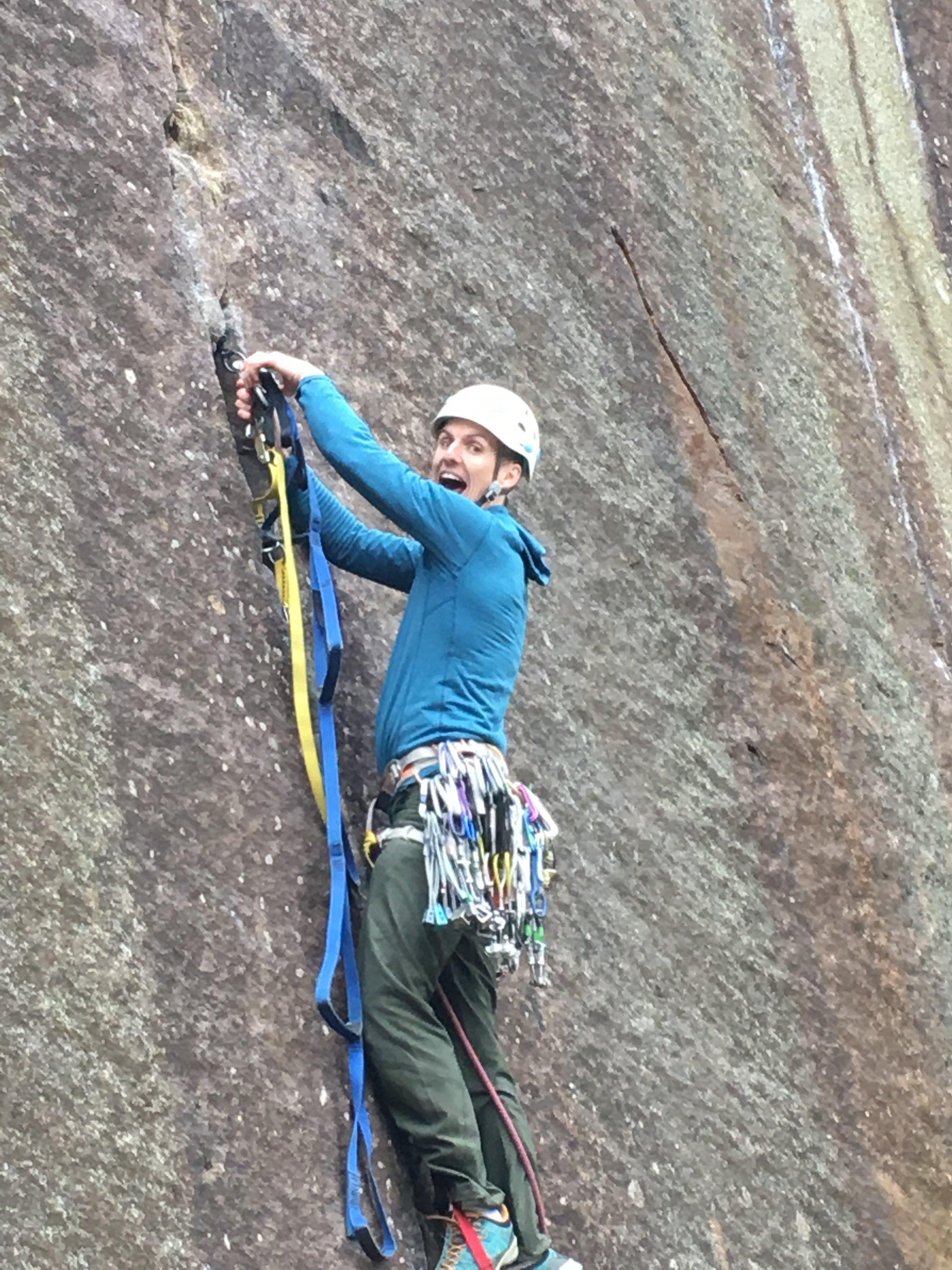 Paul loves the aid climbing.