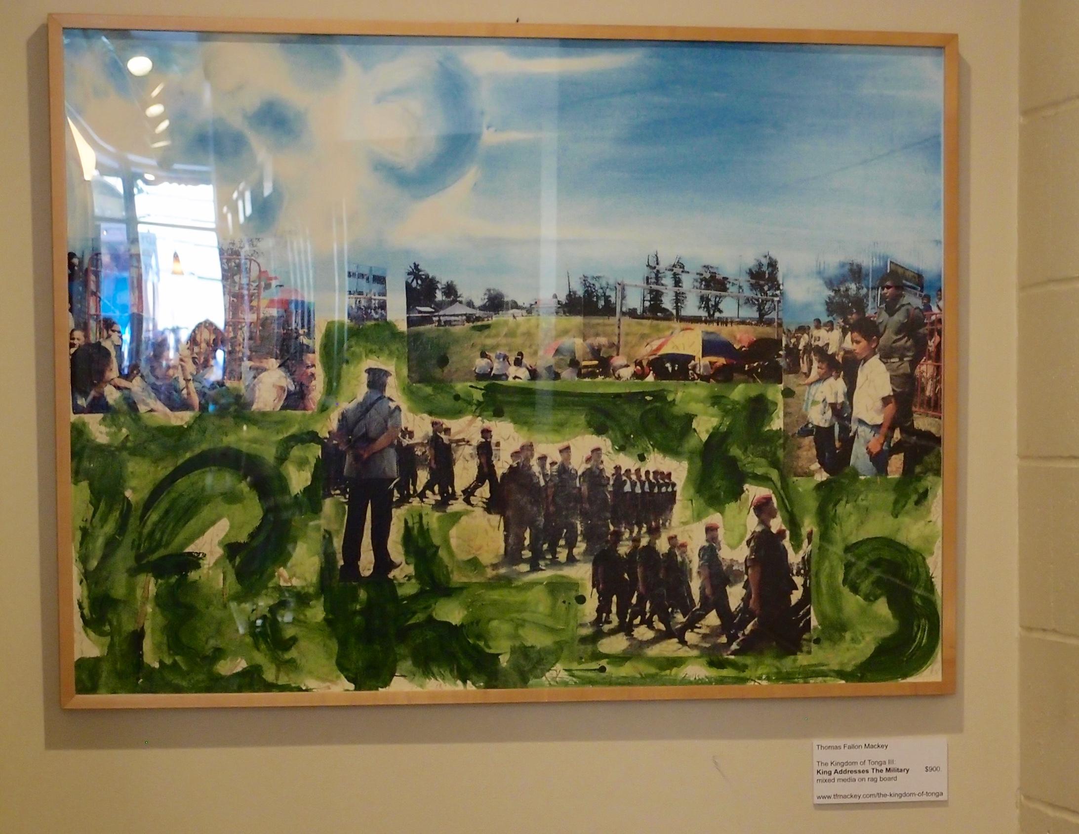"The Kingdom of Tonga III: The King Addresses The Military mixed media on rag board (31 x 41"")"
