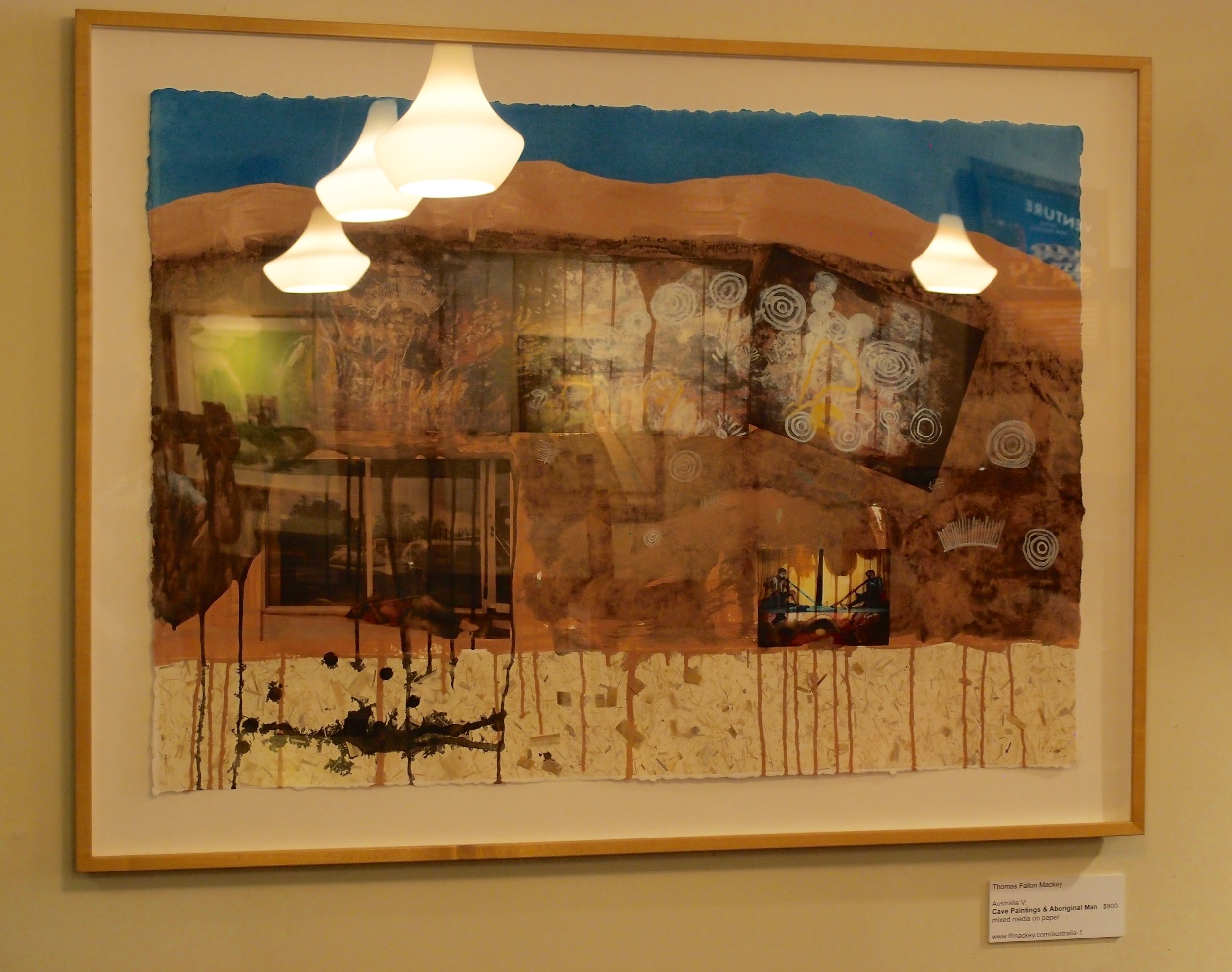 """Australia V: Cave Paintings and Aboriginal Man mixed media on paper (36 x 48"""")"""