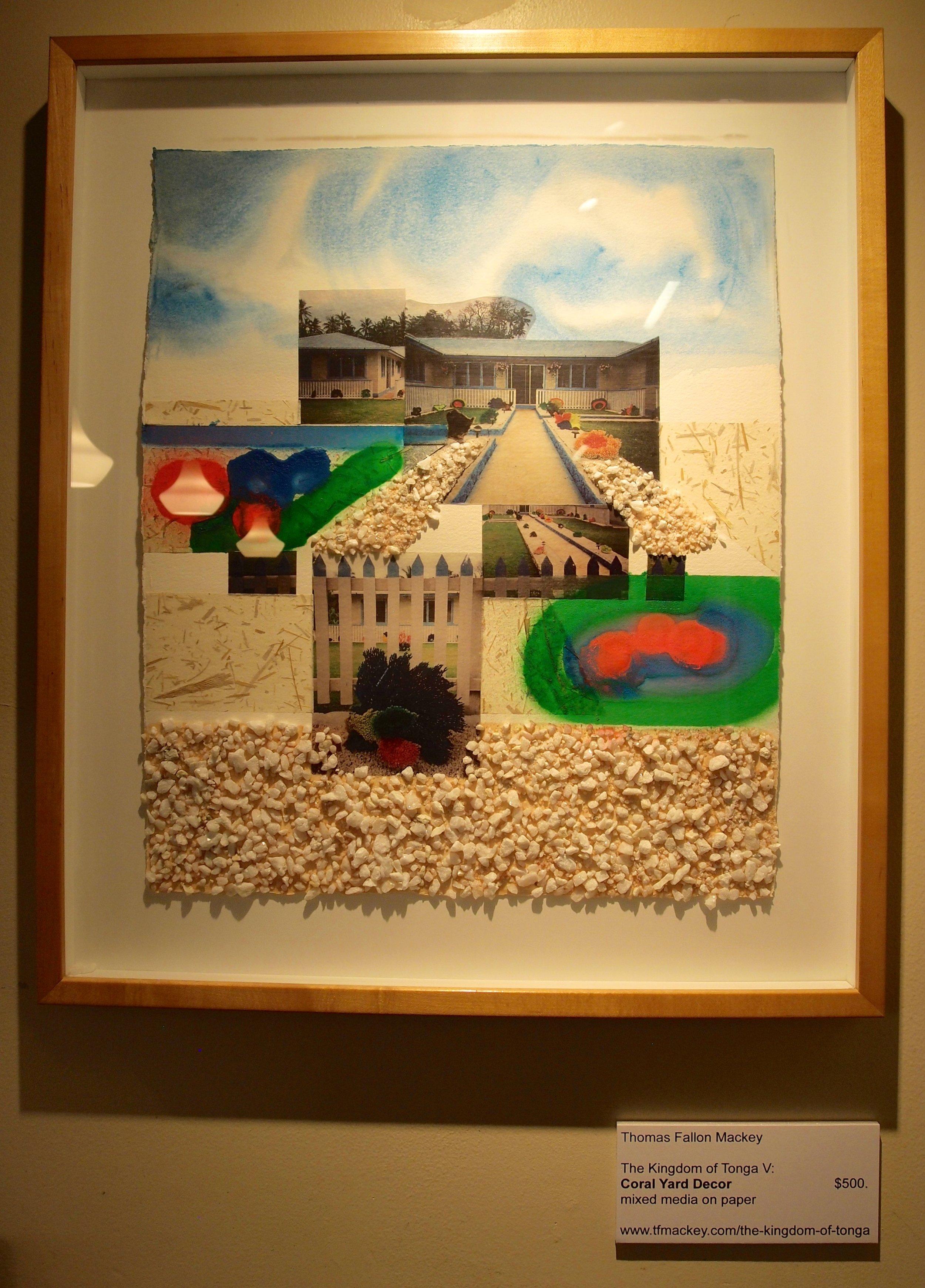 "The Kingdom of Tonga V: Coral Yard Decor  mixed media on paper (23 x 20"")"
