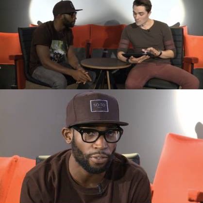 Tiny Tempah talks on screen about the importance of live music in the bar. 04/05/15