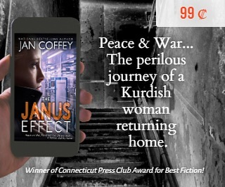 Special #deal . Take a trip through Kurdistan. A biochemist and survivor of #kurdishgenocide and an American agent must work together to stop an impending disaster.  Connecticut Press Club named The Janus Effect as the Best Novel of the Year!  #99centsonly #bargain  #kurd  #kurds #kurdstan  #thriller  #thrillerbooks #bookstagram  #books  #bookshelf  #bookworm  #refugees  www.JanCoffey.com/janus-effect