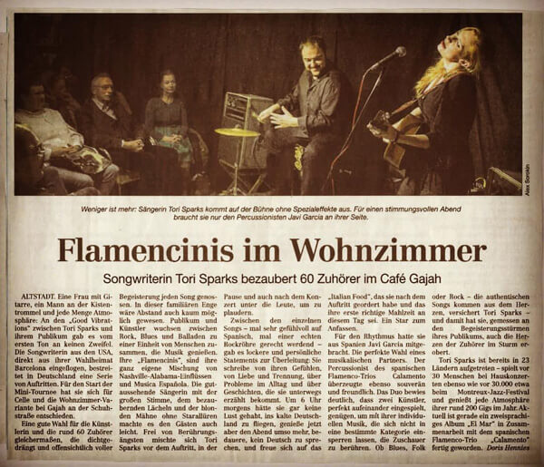 Tori Sparks Germany Tour newspaper article