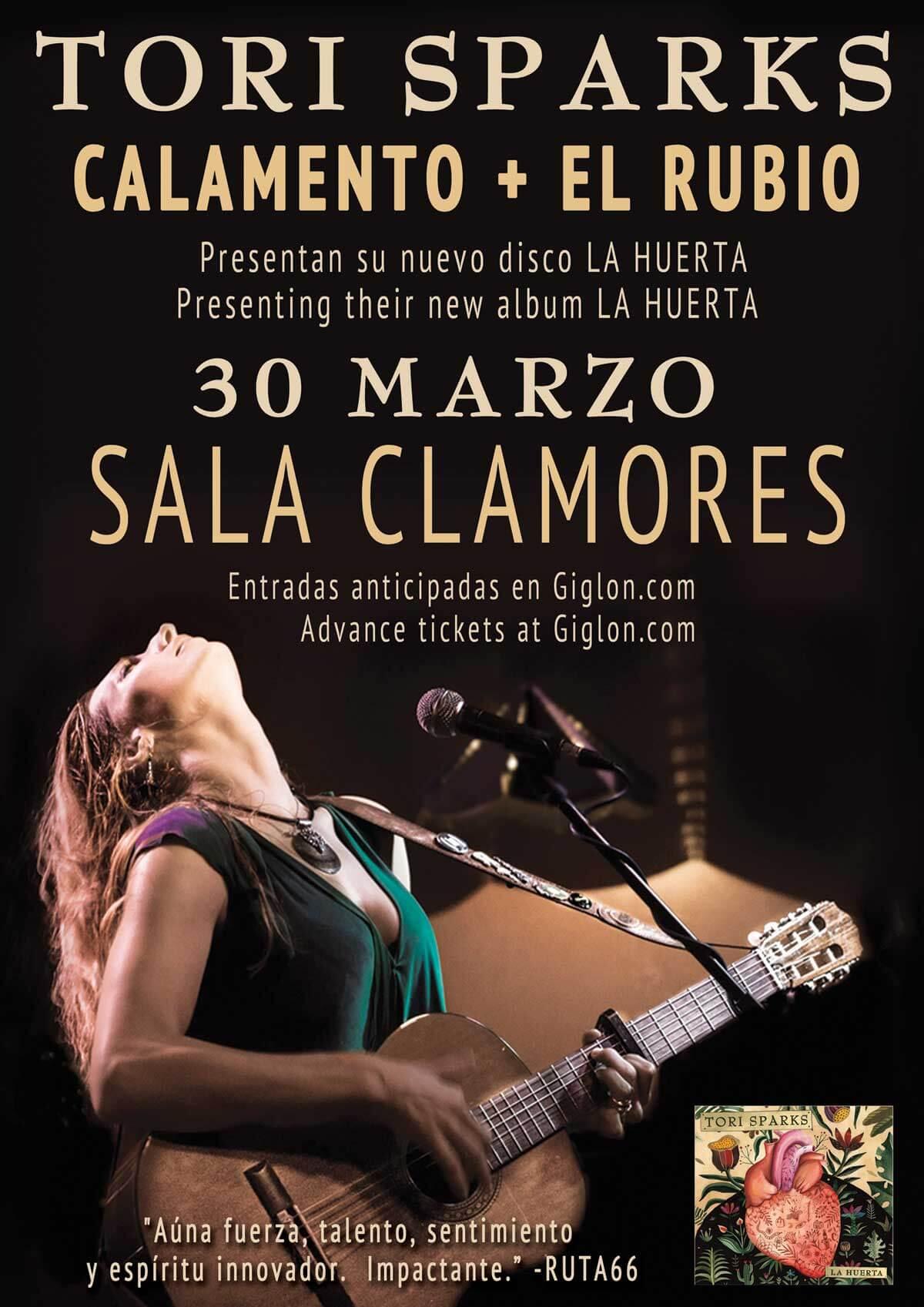 Tori Sparks La Huerta Concert Poster, Madrid, Spain