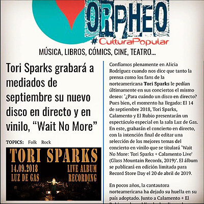 Orpheo Tori Sparks Wait No More