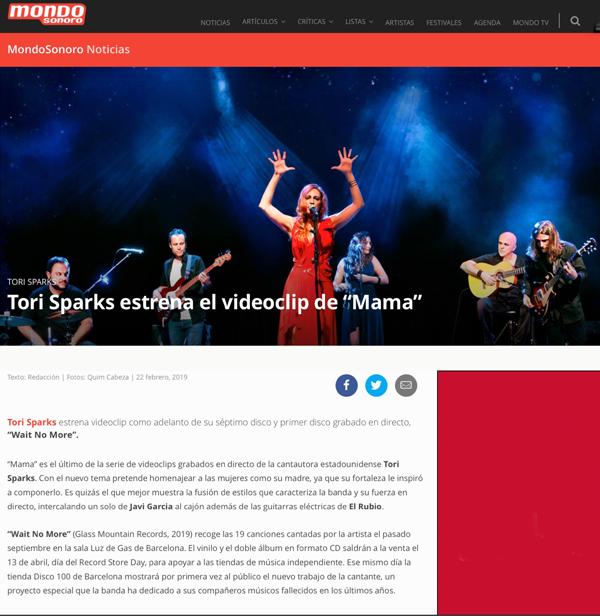 Tori Sparks MondoSonoro magazine article Wait No More