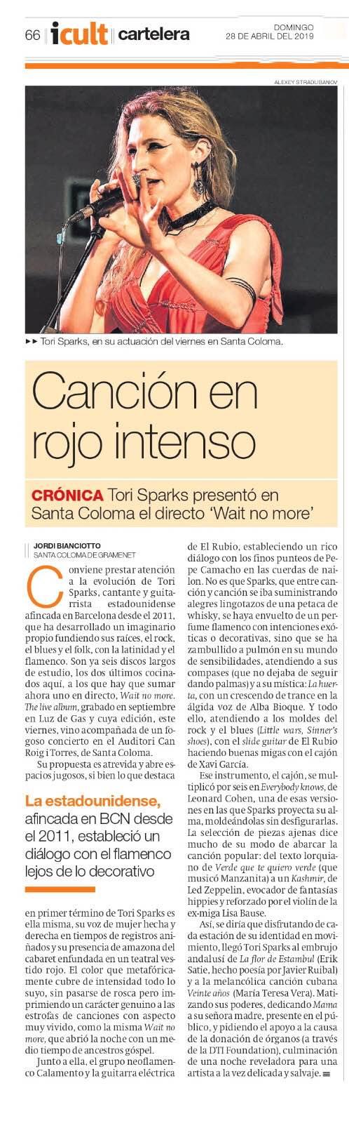 Tori Sparks El Periodico Wait No More Reseña Concierto Jordi Bianciotto