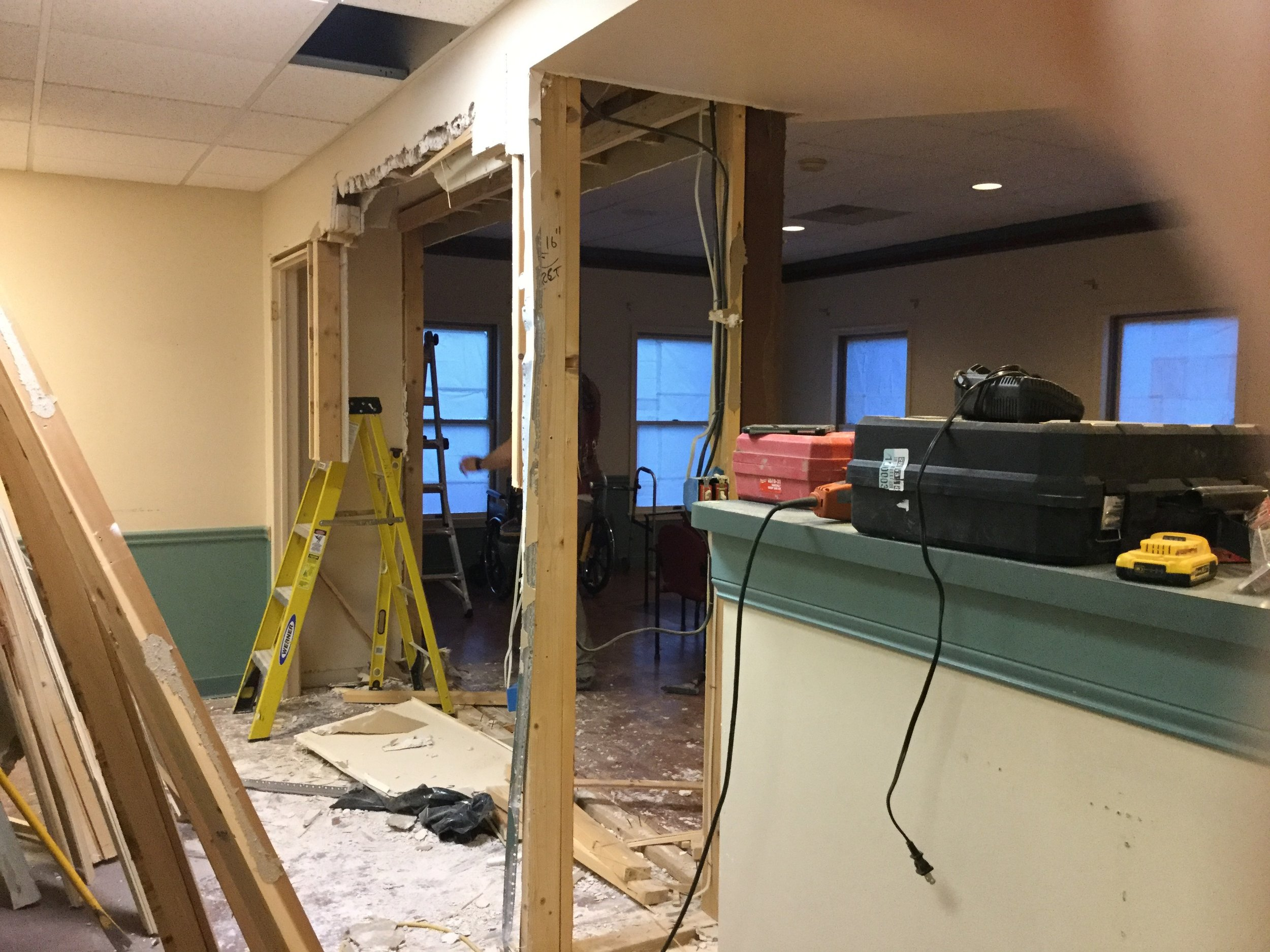 Walls coming out.... opening up the waiting area so that pets can see everything to reduce stress.