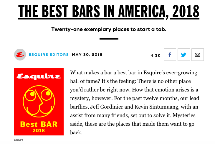 ESQUIRE Mag - Best Bars in American, 2018