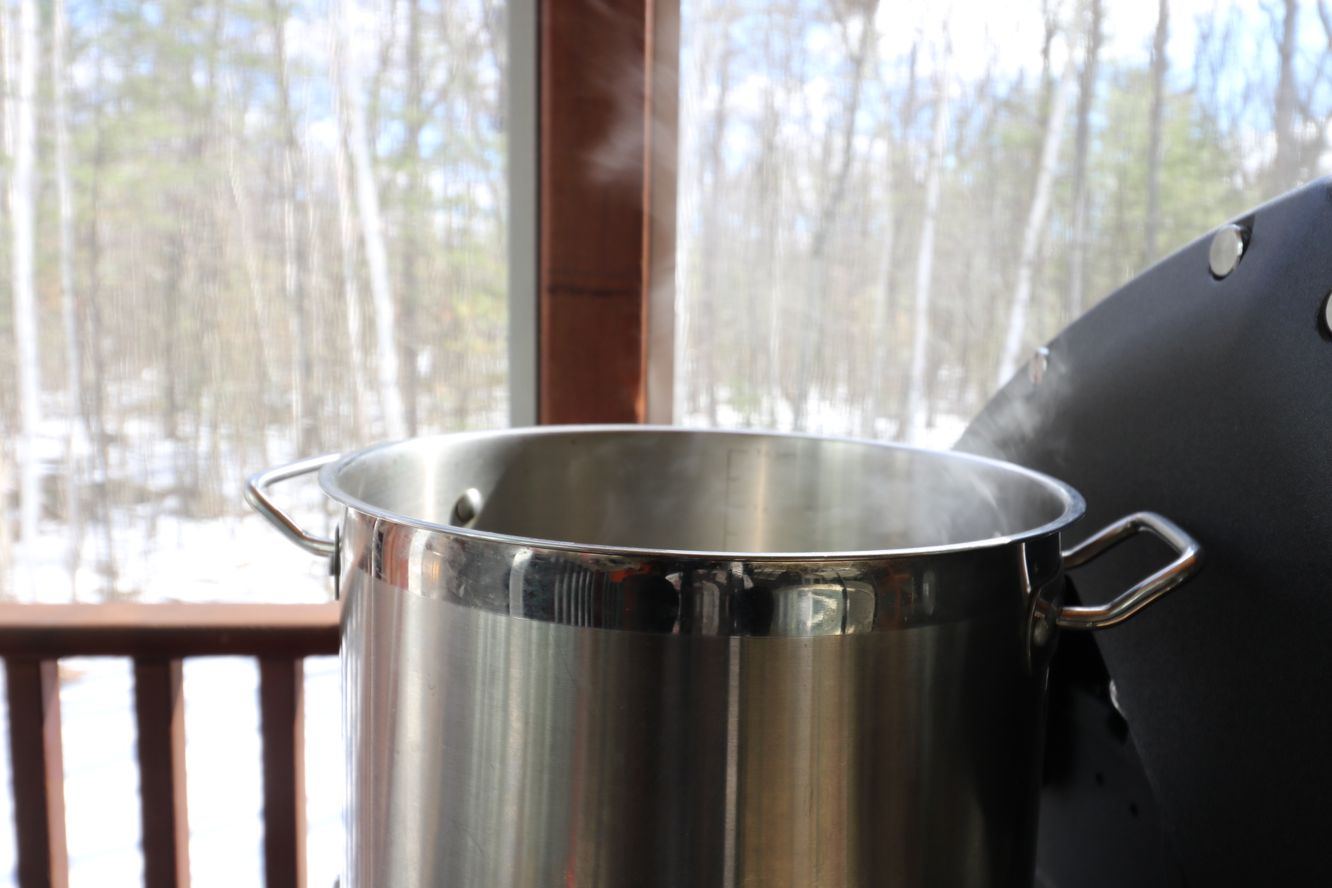 Boiling and waiting. Waiting for the water to evaporate off....waiting for the sap to change.