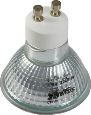 The GU10 has two thick knobs on the back, and goes into the light fitting by twisting it.