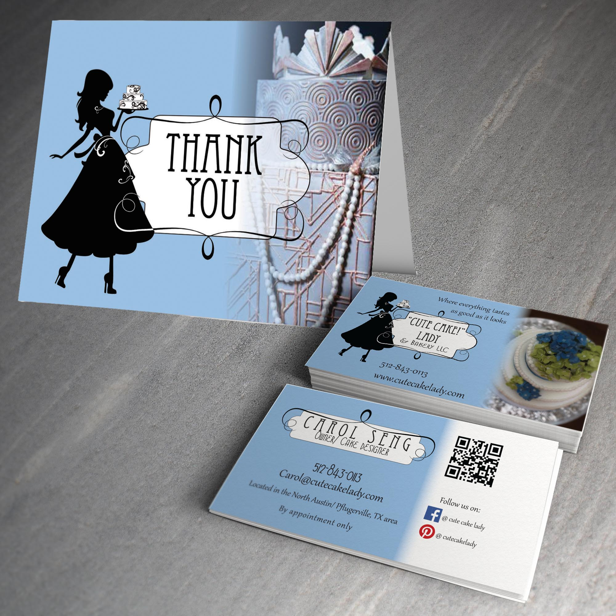 """Business Card and Thank You card for """"Cute Cake"""" Lady & Bakery LLC"""
