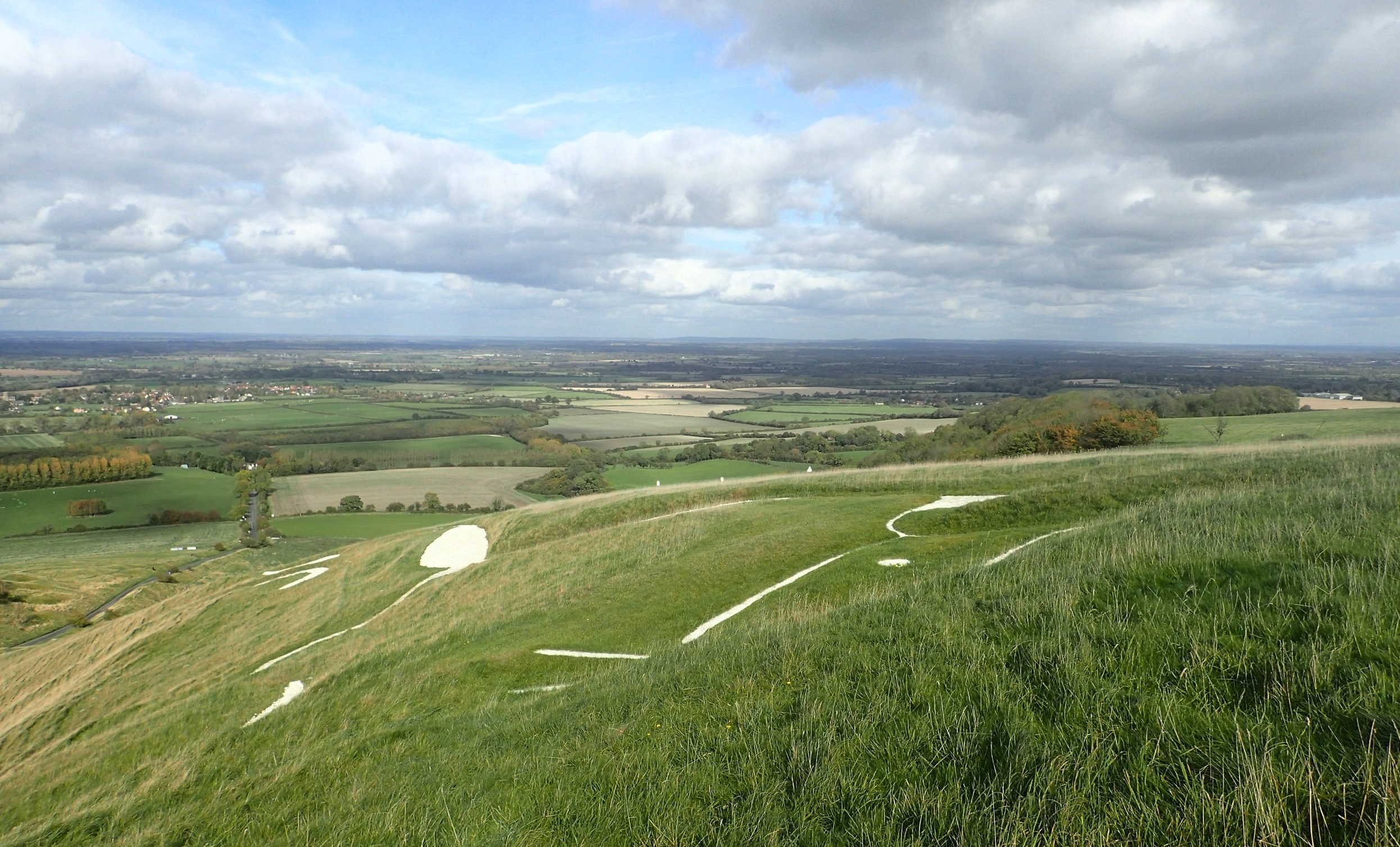 View of the White Horse from the hill