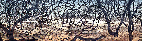 "© Eve Stockton ""Woodland Landscape II w/ watercolor, 3'x6'"""