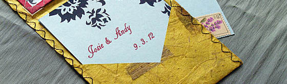 Embroidered Thai Banana Paper Wedding Invitation by Chunk Couture