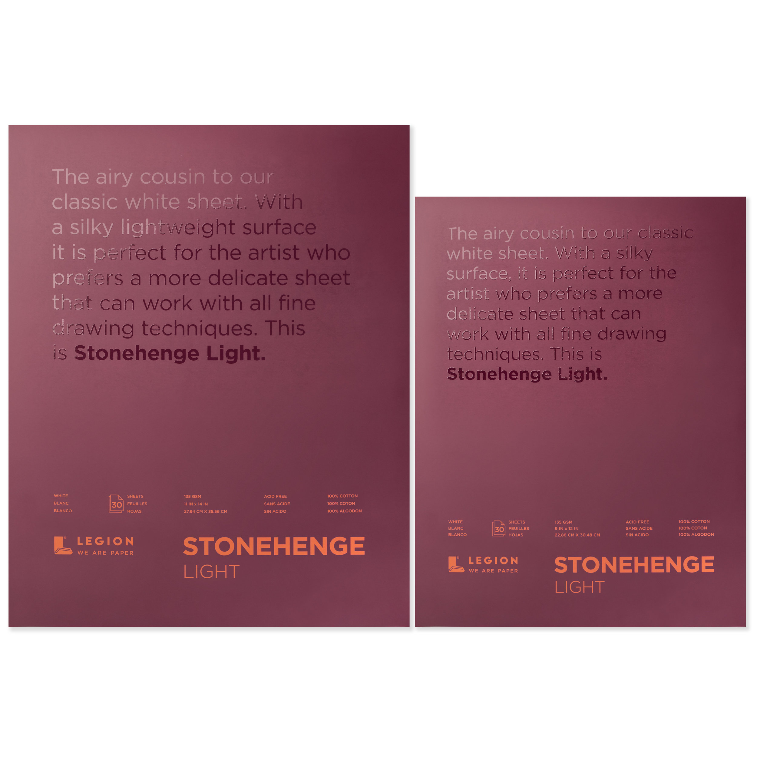 Stonehenge Light paper pad family for drawing