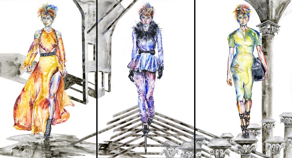 Amber Stene & Jodi Lightner, Facade, Watercolor on YUPO®