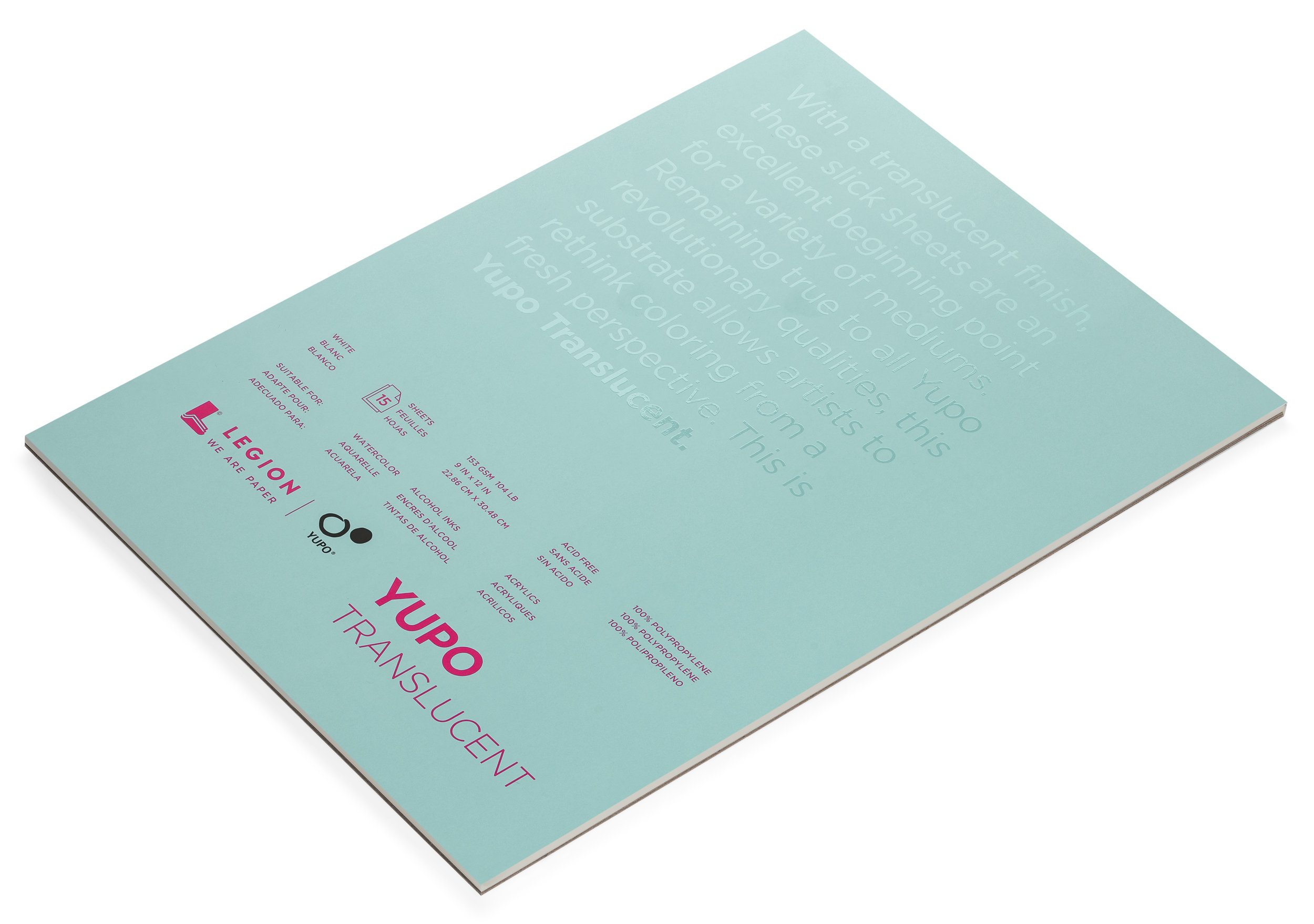 Yupo Translucent pad , a plastic paper for painting, inks