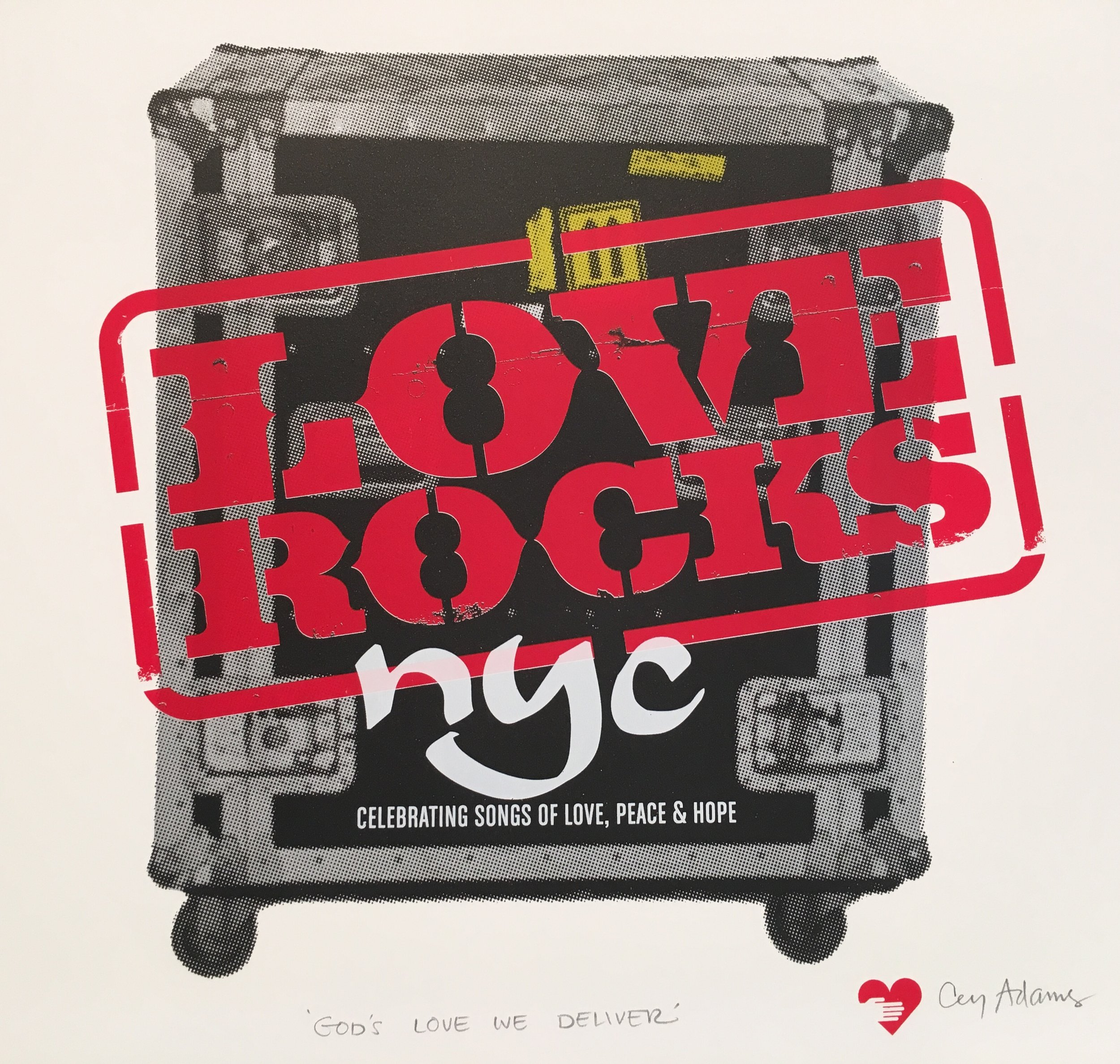"""Love Rocks,"" Cey Adams, 2017 on Coventry Rag. An edition of 100 produced exclusively for God's Love We Deliver, NYC"