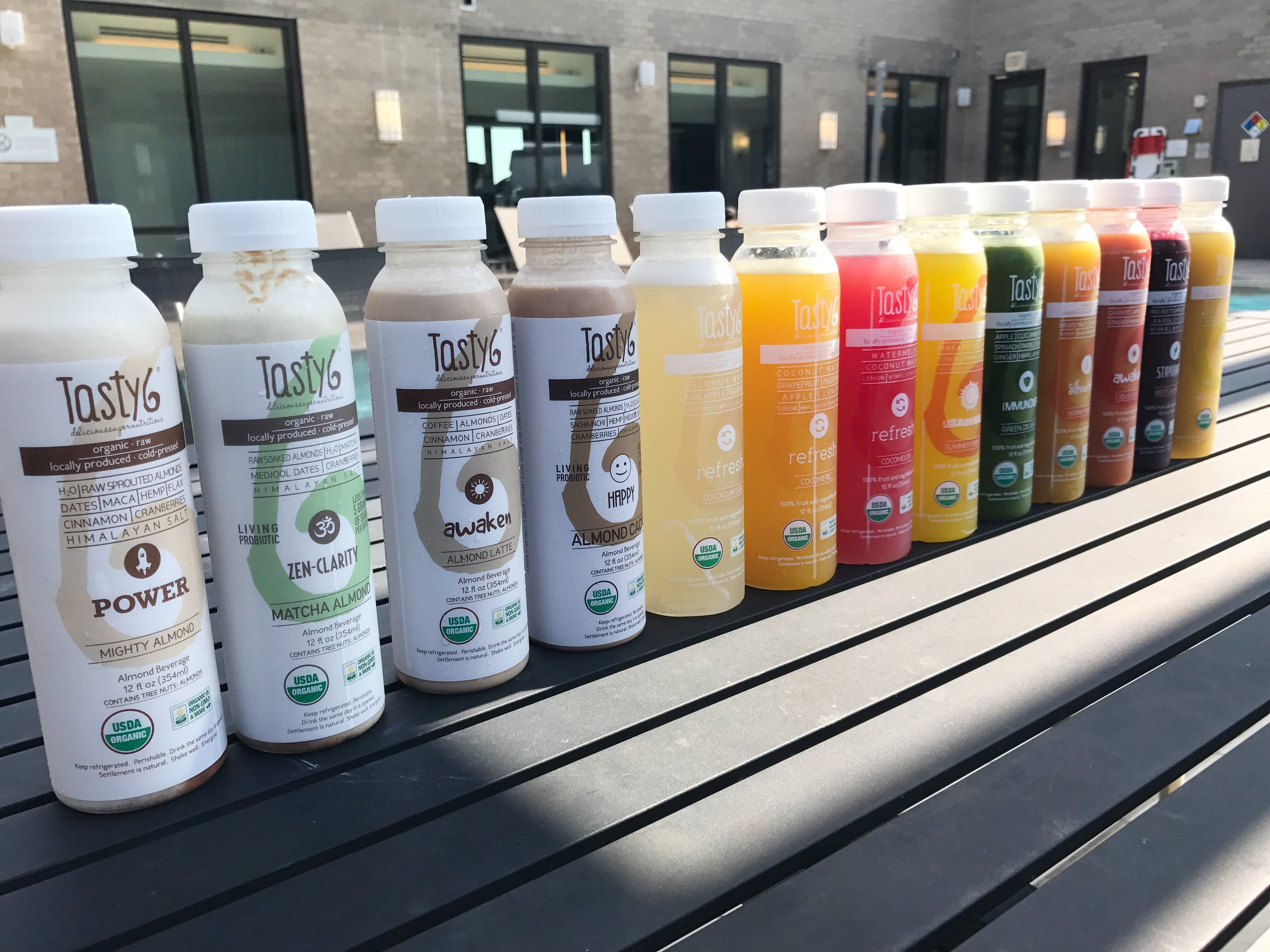 The full line-up of Tasty6's milks and juices.