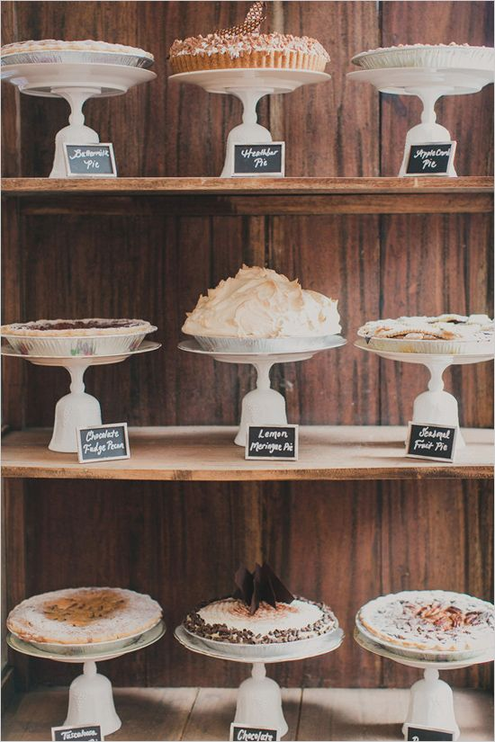 Full pie display with chalkboard signs
