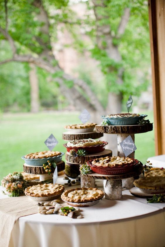 Rustic Wooden Pie Bar Display                  Photography by Angie Wilson Photography