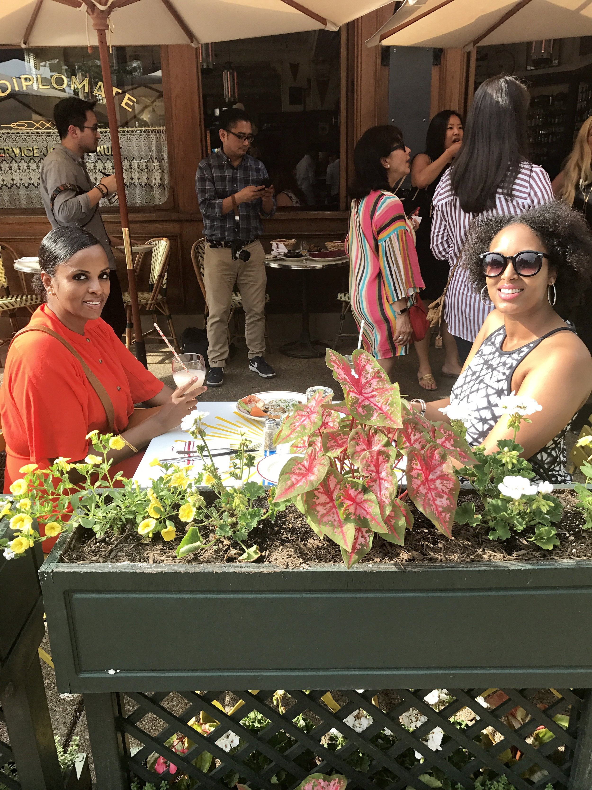 My cousin, Anki and I enjoying the beautiful sun and atmosphere at the Le Diplomate party.