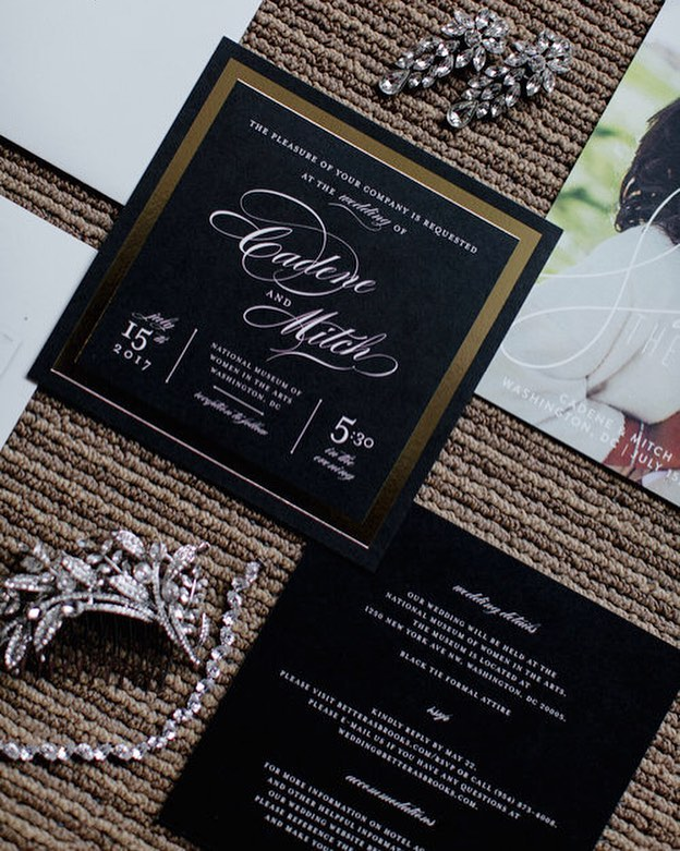 Classic, timeless, black invitations...my heart skips a beat for this beautiful suite, styling and details! @lauren.cowart @minted  _ #betterasbrooks #favoredbyyodit #dcweddingplanner #dcwedding #wedding #weddinginspiration #weddinginvitations