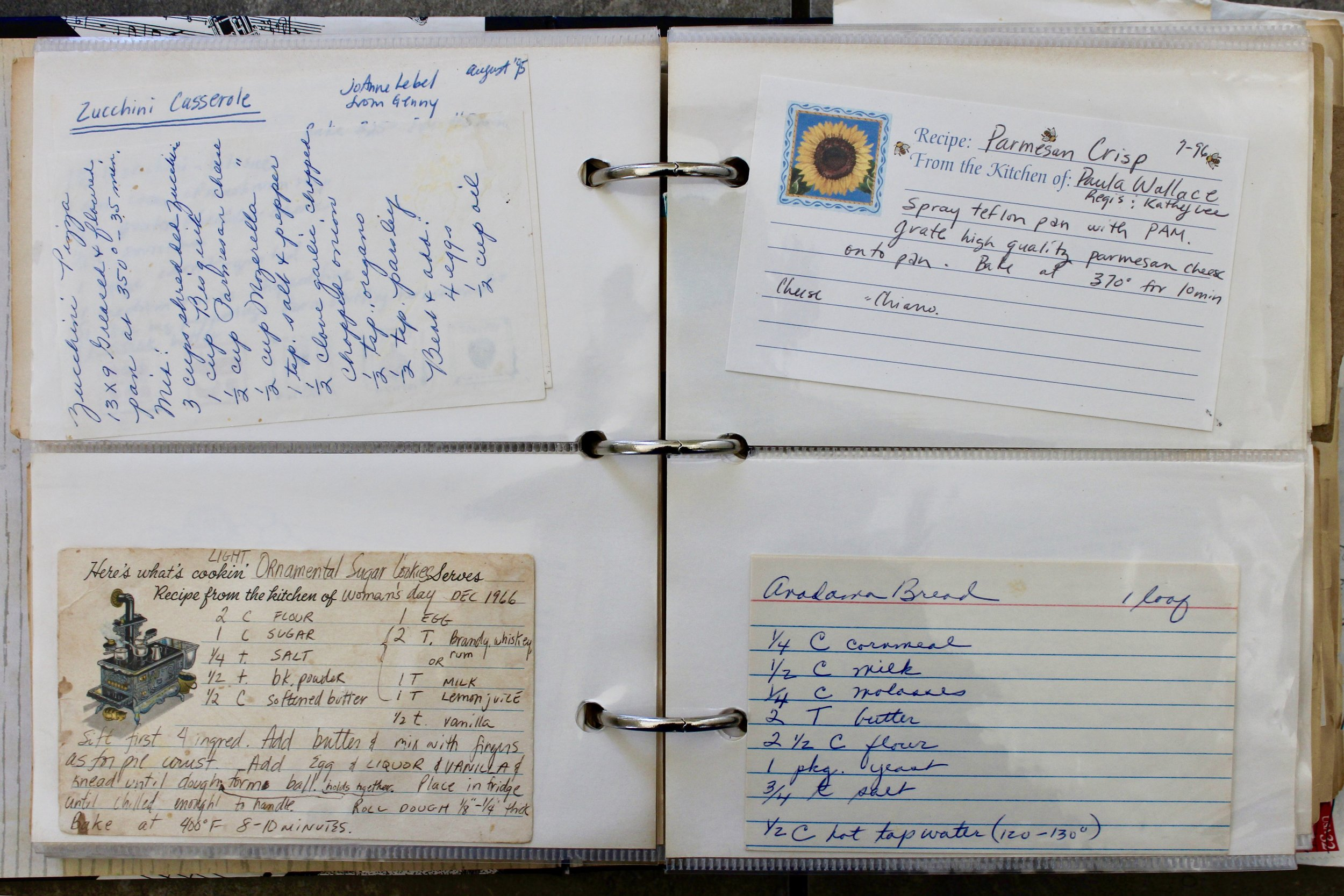 The inspiration for handwriting my cookbooks: my mom's book of recipe cards..