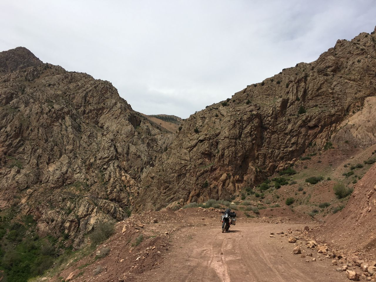 First KTM 1090 Adventure R in the Alamut Valley.