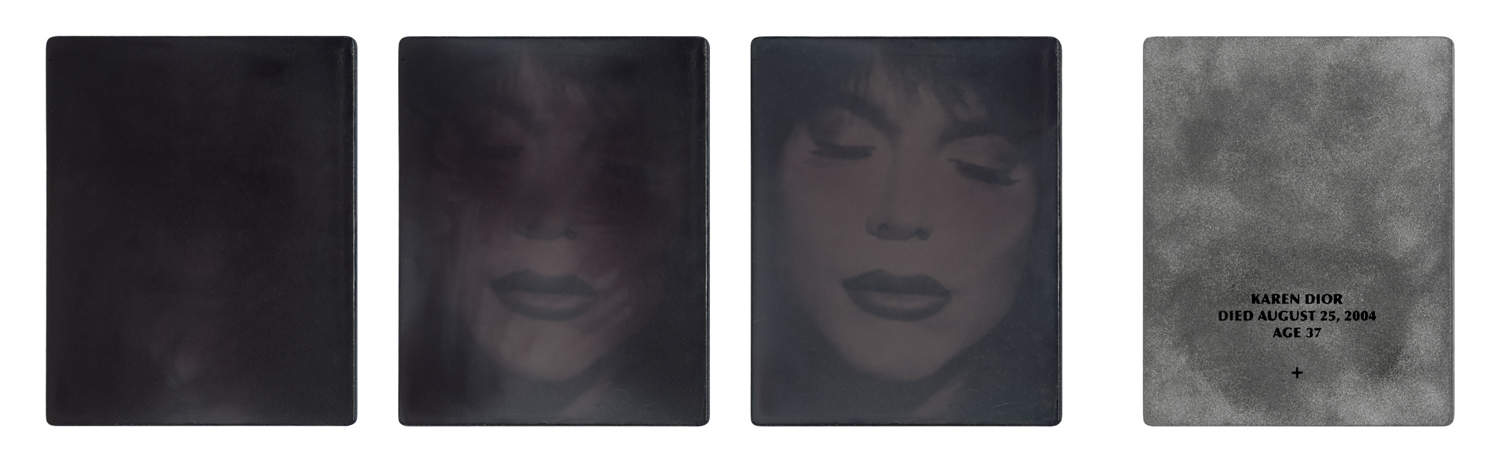 Karen Dior. Died August 25, 2004. Age 37. Film still from  She Mail  (1995) . Ambrotype, acrylic, and thermochromic pigment. 7 1/2 x 6 in. Printed 2016. Front with time-lapse sequence, reverse.