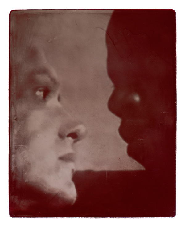 """Christopher Rage (Left). Died April 24, 1991. Age 42. Joe Simmons (Right). Died October 2, 1995. Age 30. Film still from 'My Masters' (1986). Ambrotype, acrylic. 7.5x6"""". Printed 2016."""